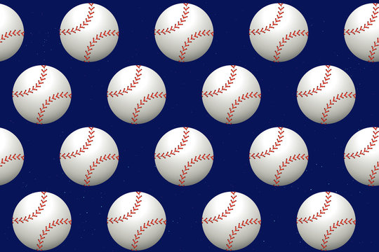 Vector seamless pattern with baseball on blue background.