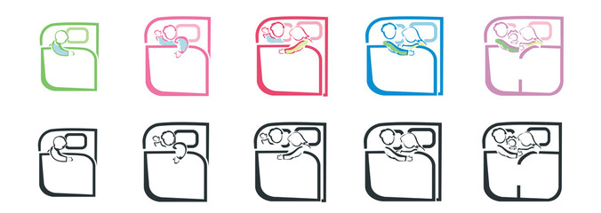 set of bed linen icons