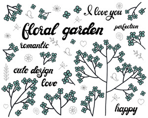 Vector set of floral branch. Doodle elements with cute blue flowers. Design for romantic greeting card or invitation background with lettering.