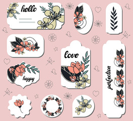 Set of different labels with doodle flowers. Collection with floral paper labels for announcements. Round, square, rectangular shapes. Template for design, greeting cards,invitations and decoration.