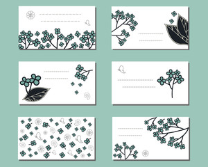 Floral templates with cute bunches of doodle flowers. For design, announcements, greeting and business cards, invitations and advertisement.