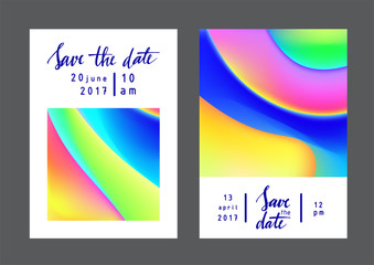 Fluid colors universal cards set. Fluid shapes with bright colors and textures. Designs for prints, wedding, anniversary, birthday, Valentine's day, party invitations, posters, cards, etc. Vector.