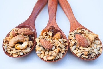 Homemade Granola on Wooden Spoon