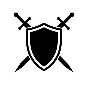 Shield and swords. Vector icon