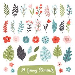 Set of hand-drawn spring flowers. Floral vector illustration. Great for website, flyer, postcard, print or banner.