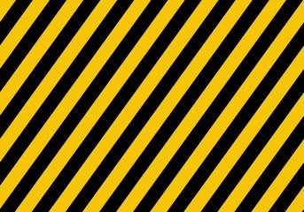 Warning yellow sign with black rectangular lines. Abstract backdrop with diagonal black and yellow strips. Danger zone background