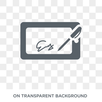 electronic signature icon. Trendy flat vector electronic signature icon on transparent background from Electronic devices collection. High quality filled electronic signature symbol use for web and