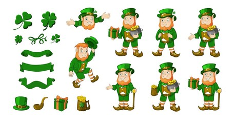 Saint Patricks Day designer cartoon elements set. Vector illustration