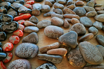 Foto op Canvas Zuid-Amerika land Souvenir of Nazca lines carved into the various size of pebble stones, Ica region, Peru, South America