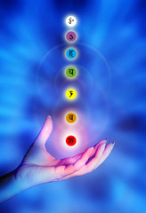 Wall Mural - Chakra seven chakras with female hand and healing light