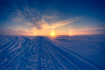 Very cold day sunset scenery from Sotkamo, Finland.