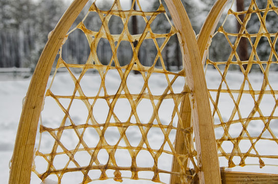 Old traditional snowshoes