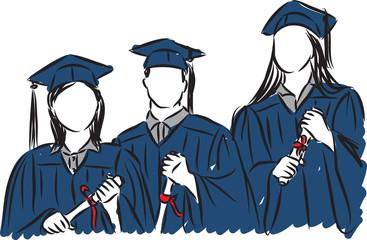 people students graduate illustration