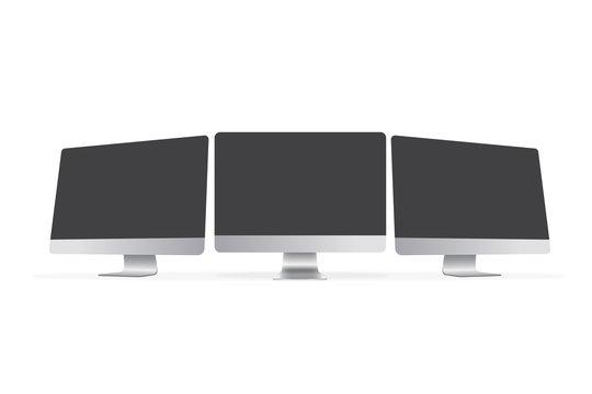 Computer 3 screen mockup vector