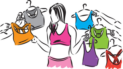 woman choosing clothes shopping illustration