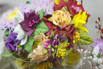 beautiful summer flowers. Colorful blossoms of colors. Wedding bouquet of the bride.