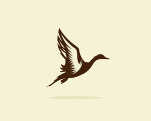Flying duck vector illustration, duck icon or symbol, duck hunt