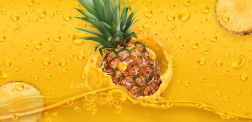 Drops. Pineapple juice. 3d realistic vector
