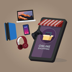 Online shopping store, electronic and game device order. On mobile screen, buying process, online shopping concept. Vector illustration