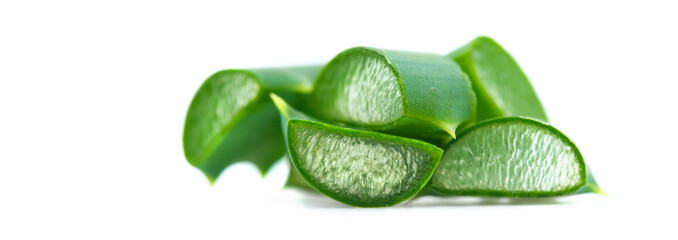 Aloe Vera closeup on white background. Sliced Aloevera. Natural organic renewal cosmetics, alternative medicine. Skincare concept