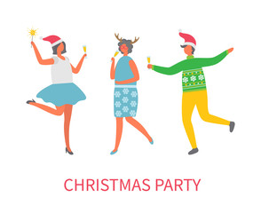 Christmas party celebration of people in good mood vector. Man and women with champagne glass in hands dancing together. Winter holiday fun event