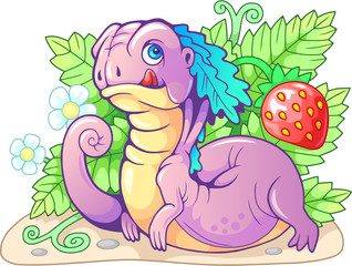 cartoon cute little berry dragon funny illustration