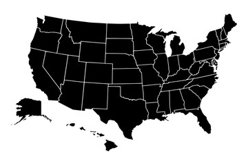 Map of United States Of America with states separated