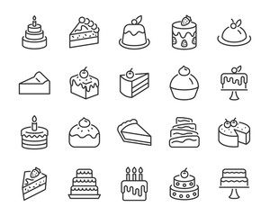 set of bakery icons, such as cake, doughnut,  bread, cheese, pie, tart