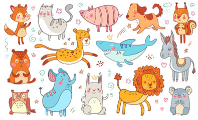 Cute hand drawn animals. Friendship animal funny doodle cat, decorative adorable fox and baby bear isolated vector illustration set