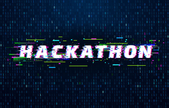Hackathon background. Hack marathon coding event, glitch poster and saturated binary data code flux vector background illustration