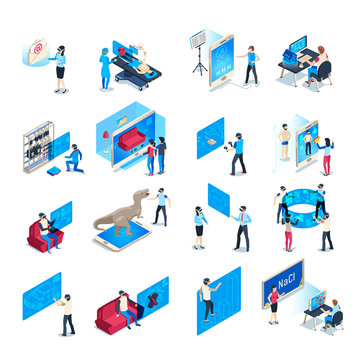 Virtual reality device. Isometric immersion training experience in vr equipment. Immersed human vector illustration collection