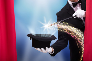 Magician's Hand With Wand And Hat