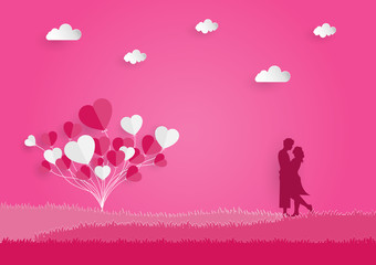 concept valentine day lover honeymoon grass tree and romantic balloons and vector and illustration holiday travel