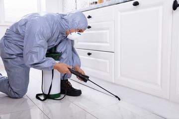 Exterminator In Work Wear Spraying Pesticide In Kitchen