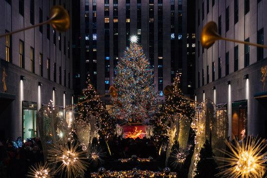 Christmas tree at Rockefeller Center at night, in Midtown Manhattan, New York City
