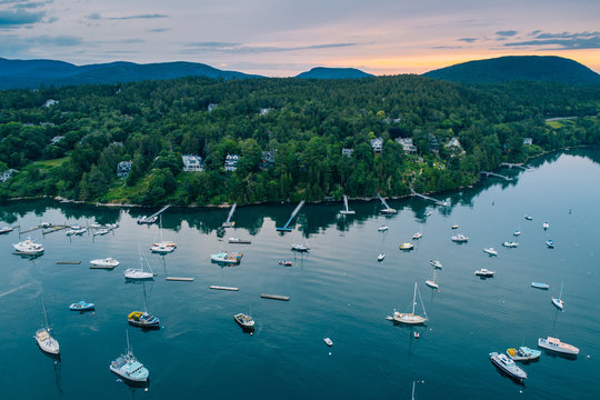 Boats in Northeast Harbor, on Mount Desert Island, Maine