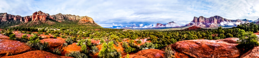 Panorama of Cathedral Mountain and Munds Mountain Wilderness between the Village of Oak Creek and Sedona in northern Arizona in Coconino National Forest, United States of America Wall mural