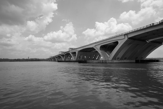 The Woodrow Wilson Bridge, over the Potomac River in Alexandria, Virginia