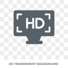 Hd icon. Trendy flat vector Hd icon on transparent background from Cinema collection. High quality filled Hd symbol use for web and mobile