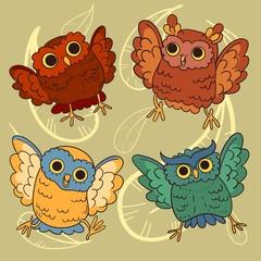 Set of an cute owls