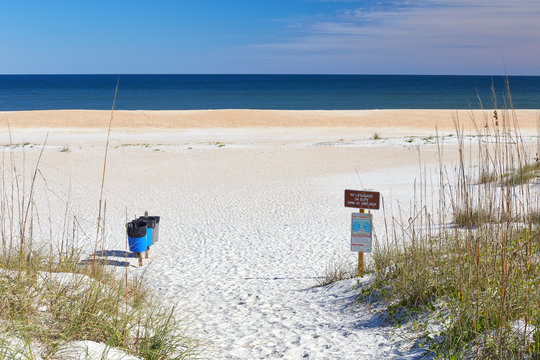 Scenic entrance to the beach at Anastasia State Park near St. Augustine Beach, Florida