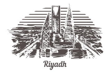 Fotomurales - Riyadh skyline hand drawn. Riyadh sketch style vector illustration.