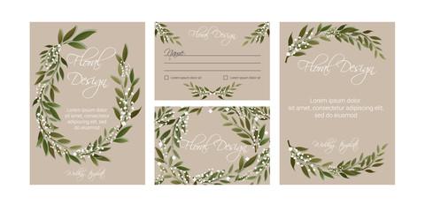 Banner on flower background. Flyer for wedding invitation. Natural botanical Greeting editable template. eps8.