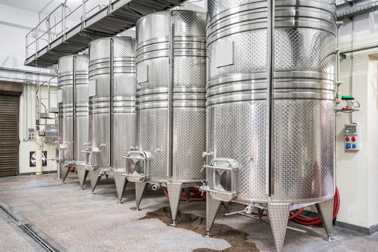 Winery production. Interior of a winery with its equipment
