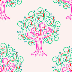Abstract seamless pattern with cartoon curly apple tree, background. Vector illustration.