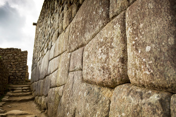 Typical old Inca stone wall in Machu Picchu