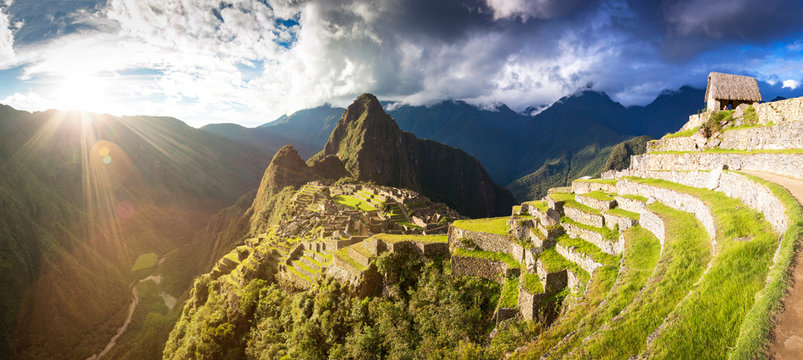Panoramic view of sunset over Machu Picchu, Peru