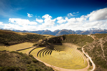 View of the archeological Inca terraces of Moray in Peru