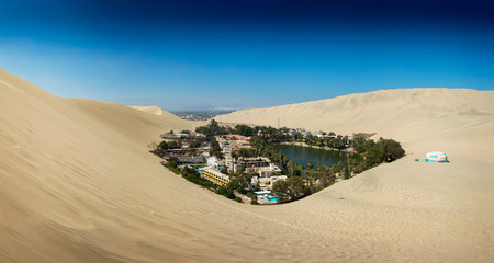 Panoramic view of the desert oasis of Huacachina, Peru