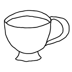Cartoon doodle linear tea cup isolated on white background. Vector illustration.